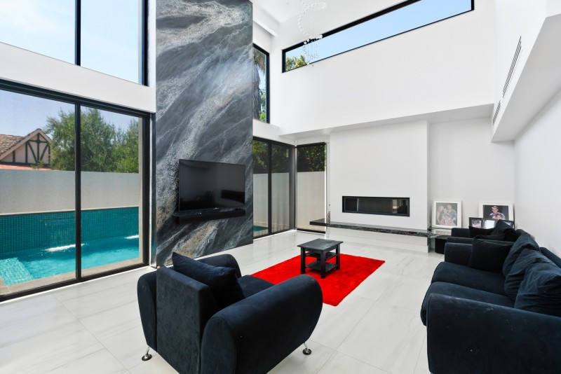 Light and airy interior design for living room of Art Deco residence, Allen Grove, Unley