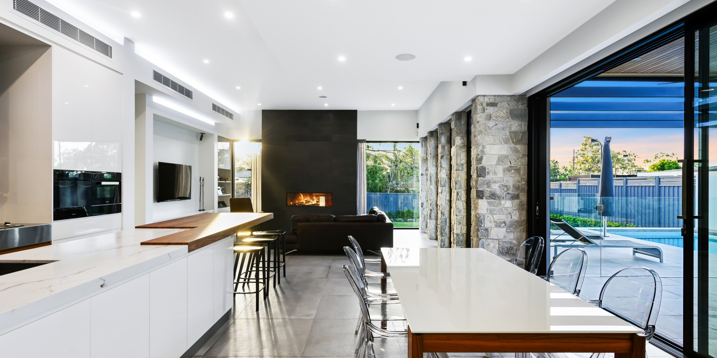 Interior architecture of dining area, Alpha Road, Kensington Park