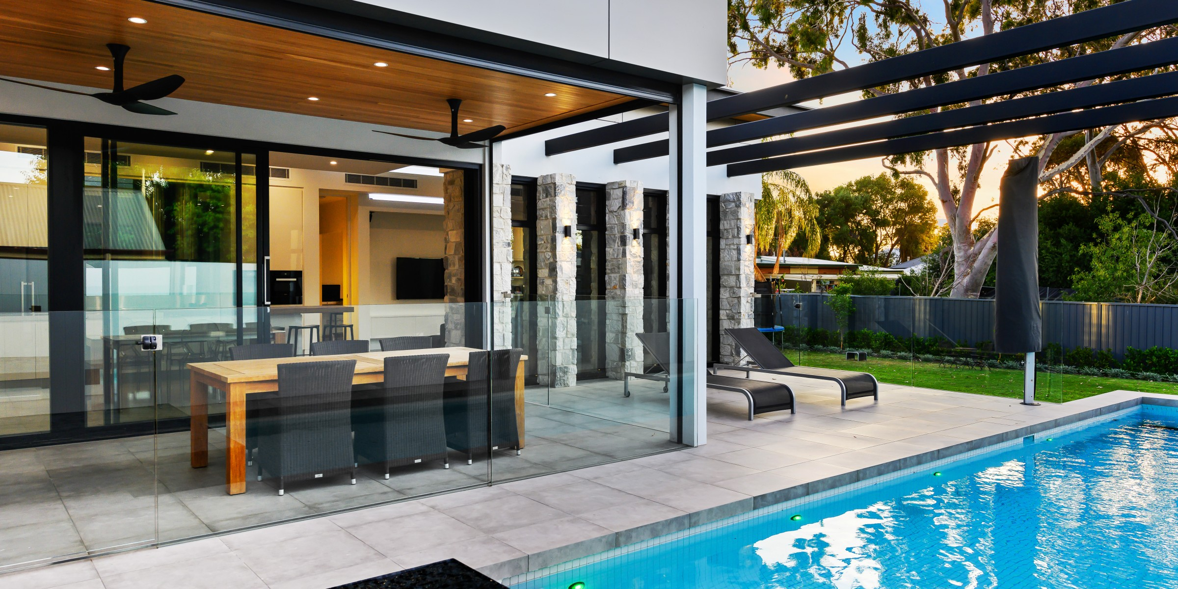 Pool, pergola and outdoor dining in backyard of Alpha Road, Kensington Park