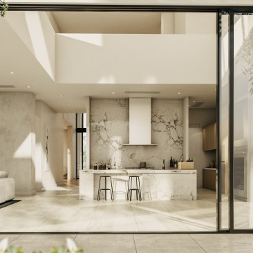 Interior living area flows seamlessly to outdoor garden, Beeston Way, West Lakes