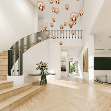 Grand entrance foyer with curved staircase, Beeston Way, West Lakes