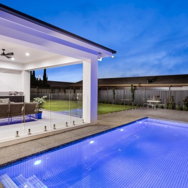 Outdoor entertaining area including inground pool, outdoor kitchen and dining, Wilcox Street, Prospect