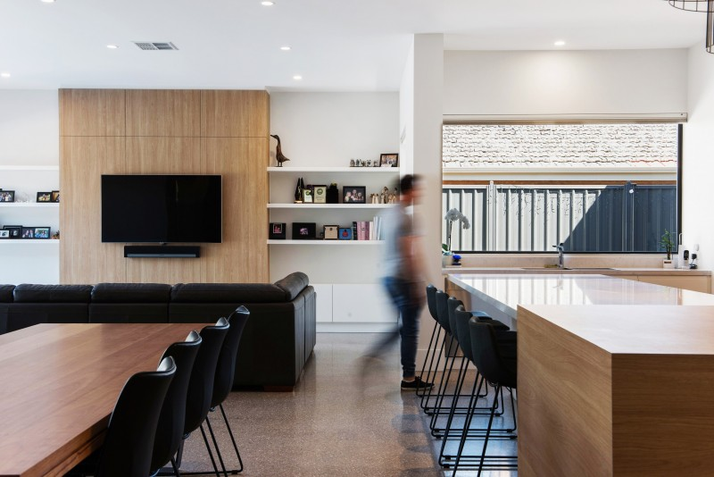 Modern interior architecture using natural light, white and wood, Fife Street, Vale Park