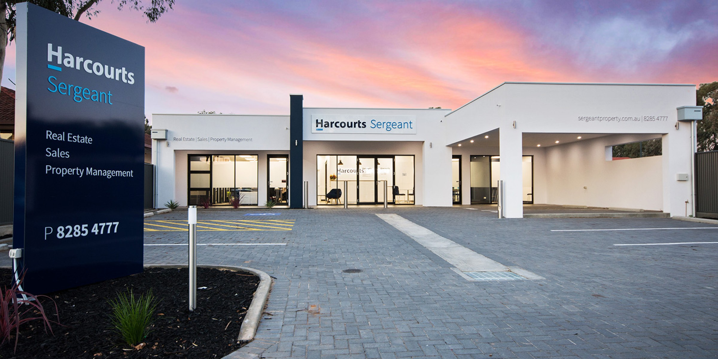 Harcourts Sargeants Office Facade Twilight